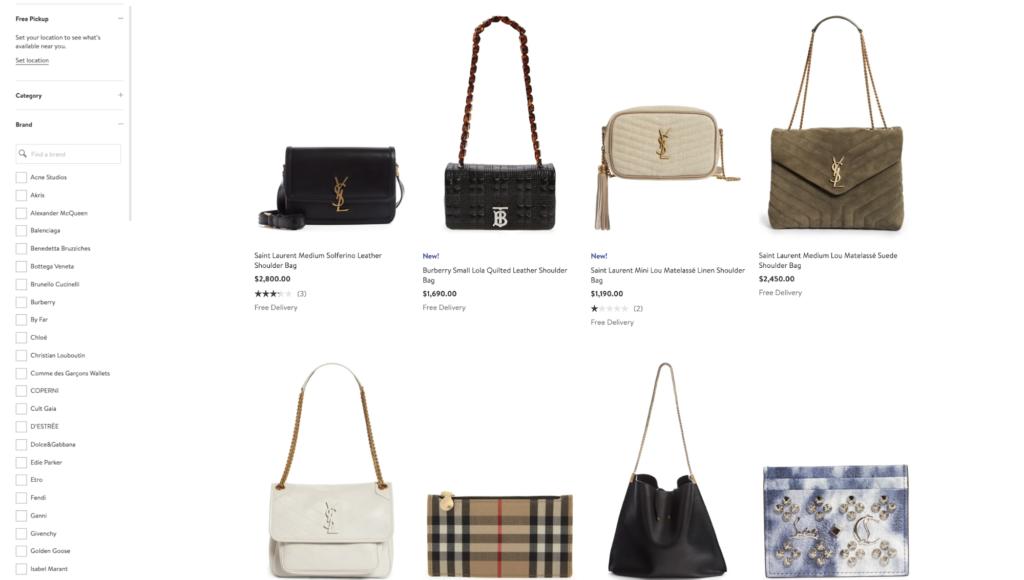 Nodstrom handbag product category page